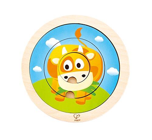 Hape International- Hape 2-in-1 Spinning Farm Puzzle Puzle Giratorio Granja, Multicolor, 5'' x 2'' (E1606)
