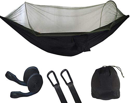 Hamacs extérieur de hamac moustiquaire automatique 2 personnes balançoire en tissu parachute avec combat vert moustiquaire-foncé, vert foncé Combattez fruits verts, 250 * 120cm Zixin