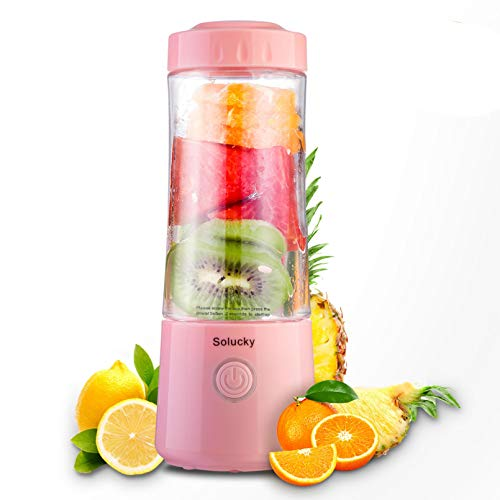 Solucky Portable Personal Blender,Usb Rechargeable Mixer for Smoothie, Fruit Juicer, DIY Milk Shakes, 400ml, Six 3D Blades for Great Mixing(Pink)