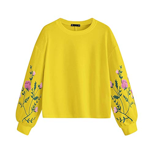 U/A Herbst Winter Sweatshirt Damen Langarm Pflanze Blumen Print Ärmel Pullover Sweatshirt Top Gr. M, gelb