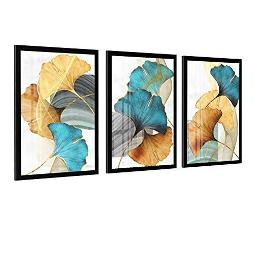 Poster astratto con foglie di pianta blu verde giallo oro verde astratto su tela di canapa stampa artistica da parete Quadro moderno soggiorno decorazione Unframe-style1 30 × 45 cm (30 × 45 cm)