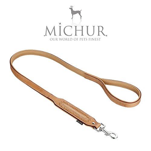 MICHUR LINA LEINE hondenriem Lerder, platte riem, lederen riem hond, lederen riem, AANPASSING MET DE LINA HALSBAND, beige, bruin LEREN maat (ca.) 120x2,5cm