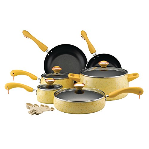 Paula Deen Signature Nonstick Cookware Pots and Pans Set, 15 Piece, Butter Speckle