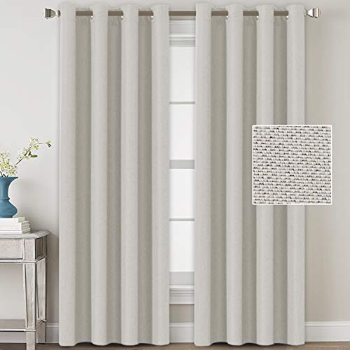 Linen Blackout Curtains 96 Inches Long for Bedroom / Living Room Thermal Insulated Grommet Curtain Drapes Primitive Textured Linen Burlab Effect Window Draperies 2 Panels - Off White