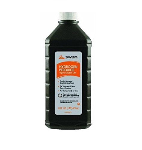 Hydrogen Peroxide 3% First Aid Antiseptic Solution 16 oz. Case of 12 Bottles by Swan