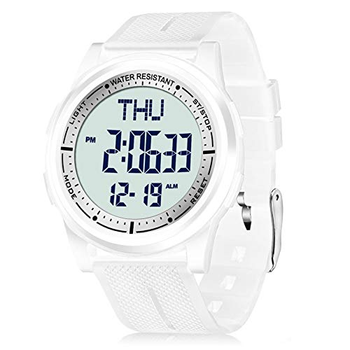 Beeasy Womens Digital Watch Waterproof with Stopwatch Alarm Countdown Timer Dual Time, 12/24 Hours Thin Digital Wrist Watches for Women, White
