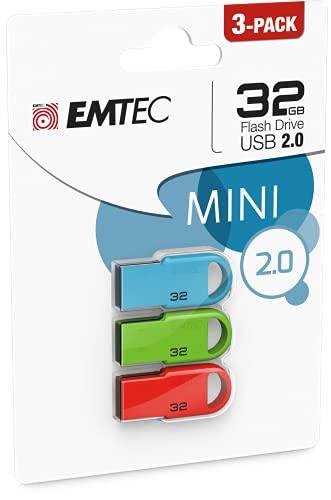 Emtec Lot de 3 Clés USB D250 Mini 2.0 - Clef USB 32Go x3 - USB Key sans Capuchon - avec Système d'Accroche - Vitesse de Lecture 15MB/s Max - Vitesse d'Écriture 5MB/s Max - 35x16x5mm Noir