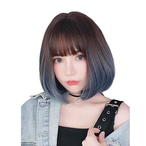 Stone Home Perruques Perruque Femme Cheveux Courts Étudiant Visage Rond Bleu Plein Coiffures Courts Cheveux bouclés naturels Fille Bobo Perruques