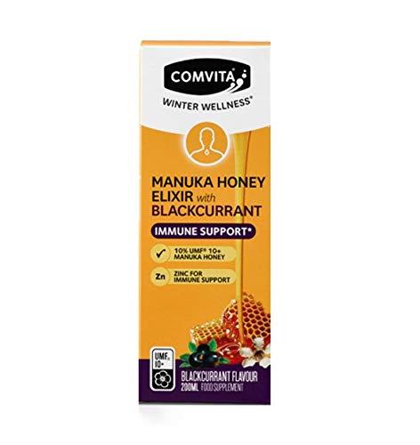 Comvita Immune Support Manuka Honey Elixir with Zinc (UMF 10+, MGO 263+) -Blackcurrant Flavour - 200ml
