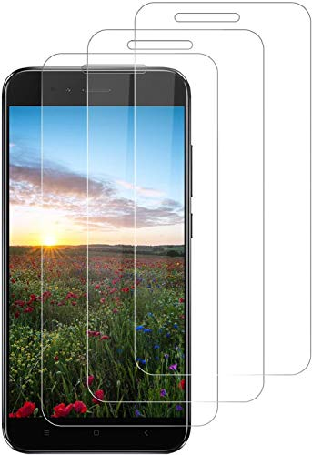 Preisvergleich Produktbild DOSNTO für Xiaomi Mi A1 Panzerglas (3 Stück),  Anti-Bläschen Anti-Öl Anti-Kratzen Hülle Freundllich Transparenz Gehärtetem Glas Displayfolie Schutzfolie für Xiaomi Mi A1 Panzerglasfolie