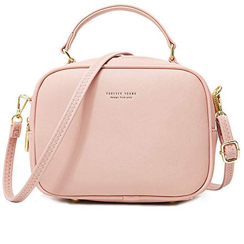 WANYIG Handy Umhängetasche Damen PU Leder Schultertasche Klein Reißverschluss Handtasche Crossbody Bag Frauen Brieftasche Cross-Body Tasche(Rosa)