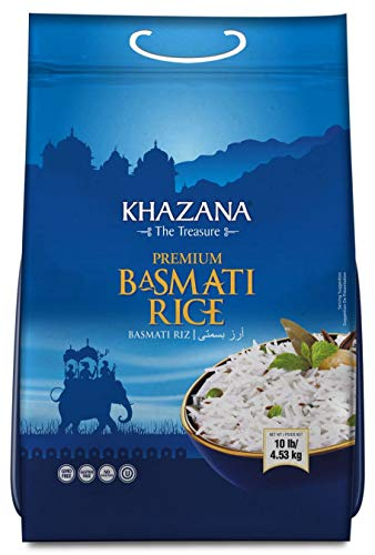Khazana Premium Basmati Rice - 10lb Resealable Ziploc Bag | NON-GMO, Gluten-Free, Kosher & Cholesterol Free | Aged Aromatic, Flavorful, Authentic Grain From India