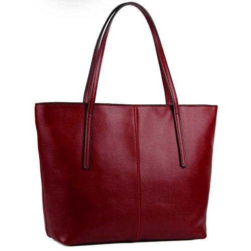 Bolso de Hombro de Mujer, YALUXE Shoppers Bolso Tote de Cuero Genuino Bolso de Mano Bolso Oficial Gran Capacidad Rojo