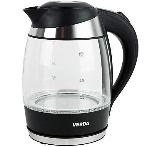 VERDA Wasserkocher 1,8L 2200W Kalkfilter LED Beleuchtung Kabelloss Glas SN0618L