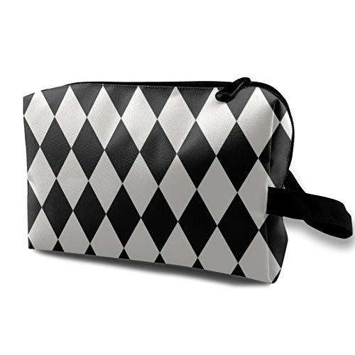 Bolsa de cosméticos de viaje, diseño de arlequín, color negro y crema, bolsa de almacenamiento con cremallera de 4.8 pulgadas x 6.5 pulgadas x 10 pulgadas