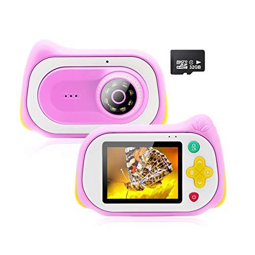 Veroyi Kinder Kamera, 15MP Digitale Video Kameras mit 200X Lupenmikroskop Video Player Recorder Kinder-Camcorder für 4-10 Jahre alte Jungen und Mädchen 32 GB Speicherkarte enthalten (Pink)