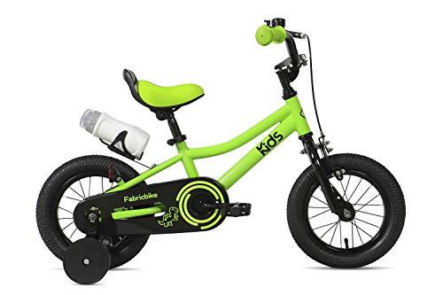 """FabricBike Kids - Bicicleta con Pedales para niño y niña, Ruedines de Entrenamiento Desmontables, Frenos, Ruedas 12 y 16 Pulgadas, 4 Colores (Light Green, 12"""": 2-3,5 Años (Estatura 70cm - 96cm))"""