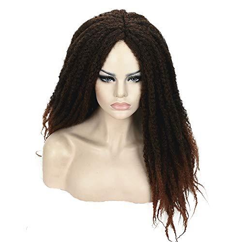 Novopus peluca: Kinky Curly Negro Pelo sintético Rastas falsas/Trenzas africanas Negro/Marrón Peluca Larga Sin Tapa Marrón Oscuro/Dark Auburn Negro Marrón