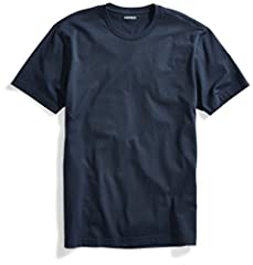 "Great for layering or wearing alone, this smooth cotton T-shirt features a ribbed crewneck, straight hem, short sleeves, and a tag-free neck for everyday comfort Model is 6'2"" and wearing a size Medium"