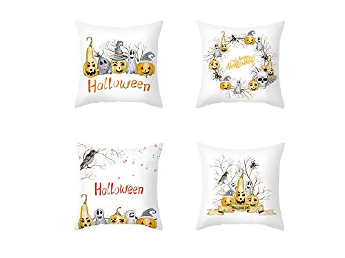 Jwqing Pack of 4 Decorative Pillow Covers Halloween Pattern Square Cushion Cover Throw Pillow Covers Home Decor for Sofa Bedroom-A_60x60cm(Cushion_Cover)