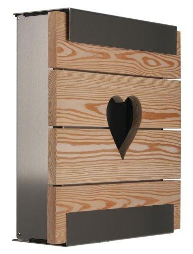 KEILBACH Briefkasten GLASNOST.Wood.Larch.Heart Lerche Herz Wandbriefkasten