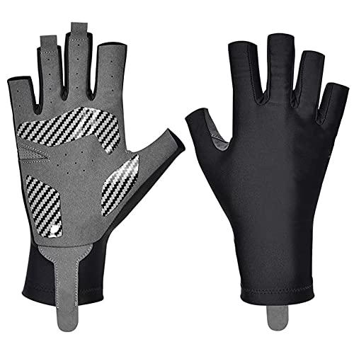 Tuozhan Guantes de pesca sin dedos medio dedo antideslizante acolchado montar corto dedo abierto guante suave elástico deportes mano desgaste
