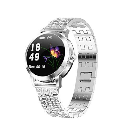 ZGLXZ Moda Reloj Inteligente, Ritmo Cardíaco BP Mensaje Y Recordatorio De Teléfono IP68 Smartwatch Femenino Impermeable Conectado A Android iOS,B
