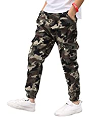 Aislor Pantalones para Niños Cargo Camuflados Militar Pantalón Callejera Urbana de Moda Chándal Deportivo Cintura Elástica Joggers Chicos Pants Hip Hop 5-14 Años