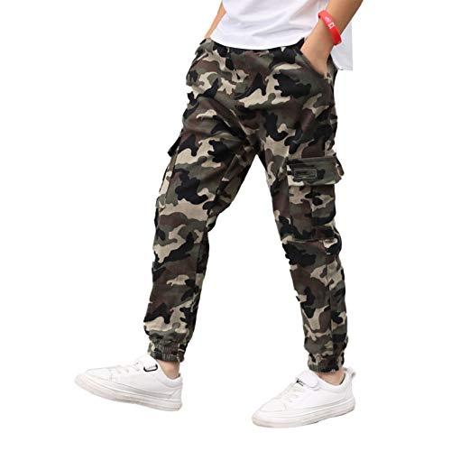 Aislor Pantalones para Niños Cargo Camuflados Militar Pantalón Callejera Urbana de Moda Chándal Deportivo Cintura Elástica Joggers Chicos Pants Hip Hop 5-14 Años Camuflaje Verde Ejército 7-8 años