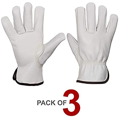 Estalon Heavy Duty Cowhide Leather Safety Gloves for Men & Women, Durable Gloves for Industrial Work, Construction & Gardening, Sizes Small to X Large, 1 Pair (Medium 3 Pair, Beige)