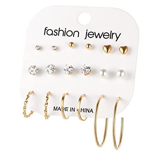 ZLHZYP arete, 9 pares / set Pendientes de metal de color dorado y plateado con forma de corazón de moda para mujer Pendientes redondos de aro de perlas Conjunto de joyas, oro