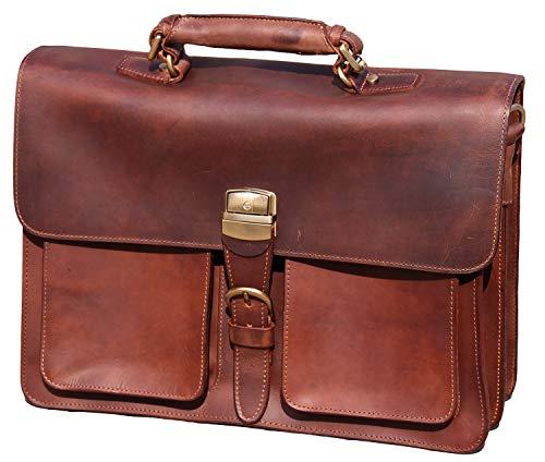 IBLUE Mens Leather Briefcase Vintage Handmade Shoulder Bag Satchel Crossbody Laptop Tote Messenger Bag