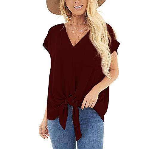 WAo Camisas casuales de color sólido blusa anudada con cuello en V manga corta túnica con bolsillo verano transpirable Tops sueltos, Vino, XXL