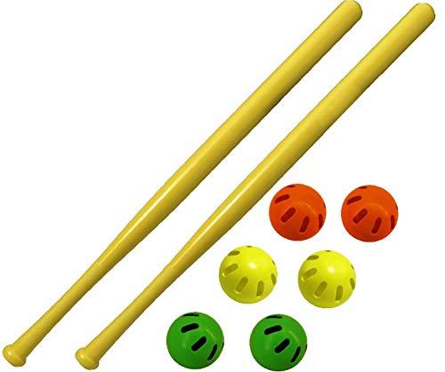WIFFLE 32' Bat & Green, Orange & Yellow Baseballs Matty's Toy Stop Set Bundle - 8 Pack