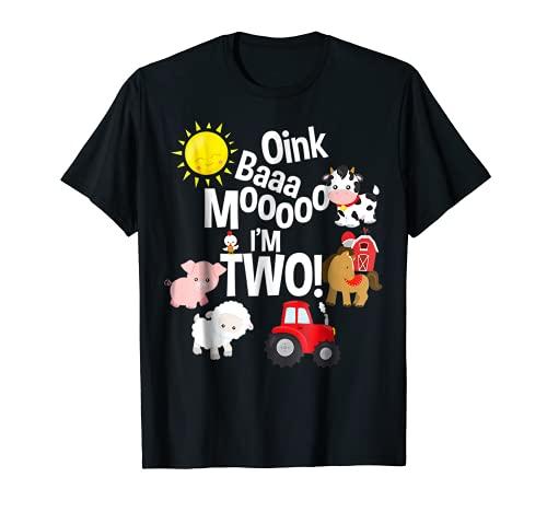 Oink Baa Moo Soy 2 Granja Tema Cumpleaños 2 Años Camiseta
