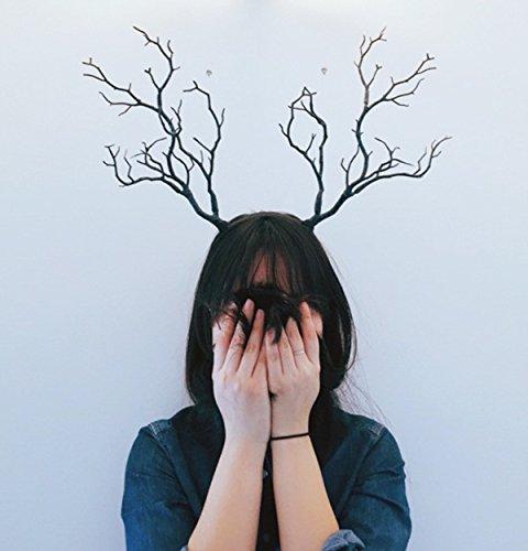 Changlesu Vintage Retro Baum Zweige Stirnband Requisiten Hörner Haar Zubehör Schwarz mit Blau Cosplay Halloween Party Kopfschmuck Zubehör