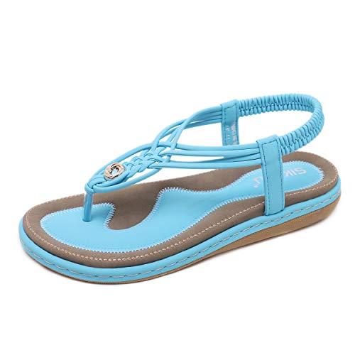 Bohemian Sandals for Women, Knitting Flats Handmade Bohemia Style Clip Toe Beach Shoes Boho Flip Flops Shoes Summer Wear Vacation Elastic Slip On Thongs Beach Shoes Size EU 39 = 8 US Lake Blue