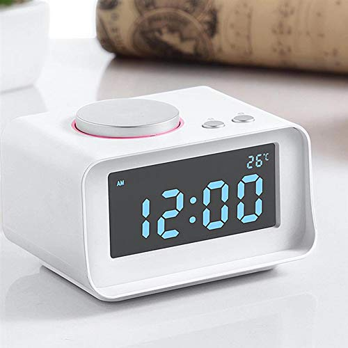 JSX Smart Digital Alarm Clock, Multi-Function FM Radio Alarm Clock Dual USB AUX Function Connect to MP3 MP4 PDA,White