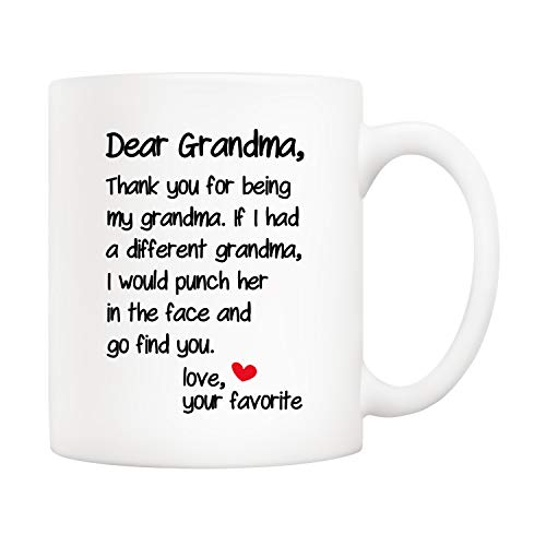 5Aup Mother's Day Funny Grandma Coffee Mug Christmas Gifts from Grandson Granddaughter, Dear Grandma, Thanks for Being... Love Your Favorite Cups 11 Oz, Birthday Present Idea for Grandmother