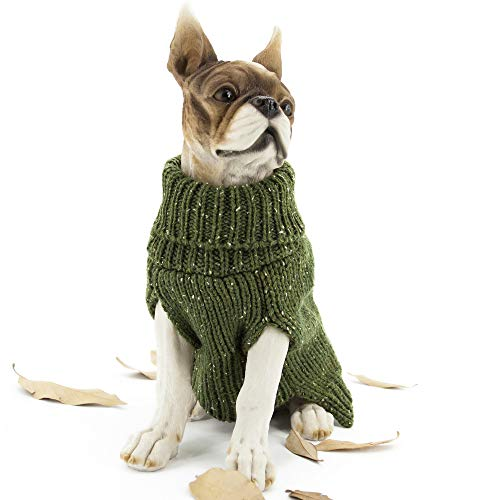 Apetian Dog Sweater Cold Weather Coats Winter Dog Apparel Dog Knitwear Clothing (XL, SH004-Green)