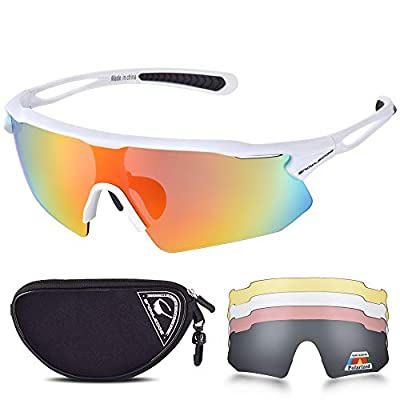 Snowledge Cycling Glasses for Men Women with 5 Interchangeable Lenses,TR90 Polarized Sports Sunglasses for Cycling with UV400 Protection