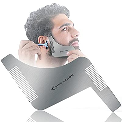 MYCARBON Beard Shaping Tool Easily Shape Beard Template Lightweight&Durable One Size Fits All Beard Shaper Comb for Neckline Goatee Beard Shaping With Beard Trimmer or Razor Christmas Gift for Men