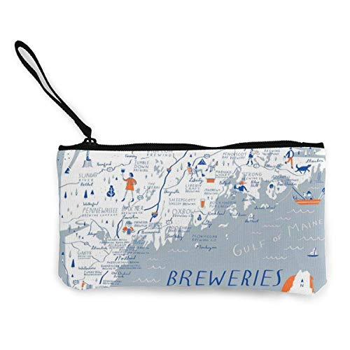 XCNGG Women's Canvas Zip Around Wallet Ladies Clutch Travel Purse Wrist Strap Breweries of Maine