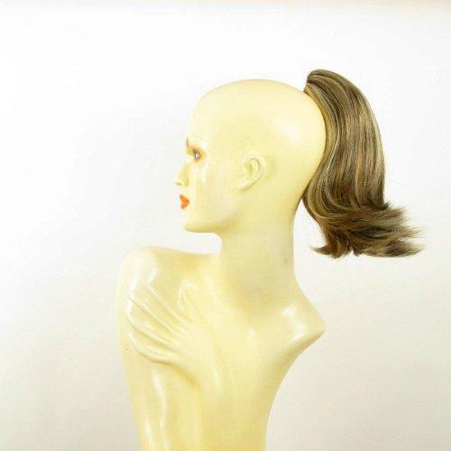 Postiche queue de cheval extension femme courte 28 cm blond clair méché cuivré clair et chocolat ref 9 en 15613h4