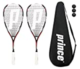 2 x Prince Pro Airstick Lite 550 de squash raquetas + 3 Pelotas de squash Dunlop Pro