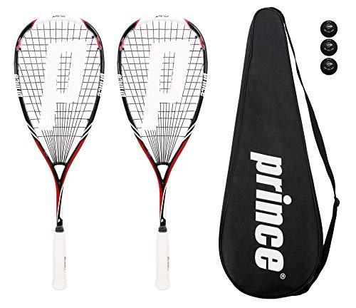 2 x Prince Pro Airstick Lite 550 Squashschläger + 3 Dunlop Pro Squash Bälle