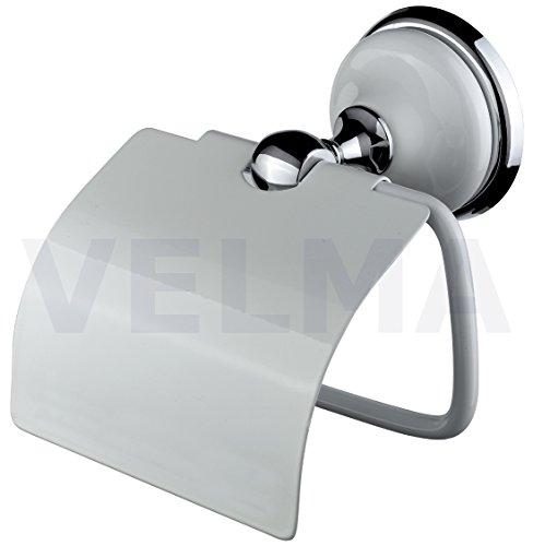 VELMA - 218351 - Dérouleur De Papier Toilette - Série Bianco - Design Exclusif - Laiton Chromé Ultra Brillant Inoxydable/Céramique - Haute Qualité