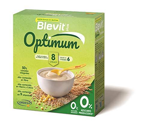 Blevit plus Optimum 8 Cereales, papilla infantil de cereales elaborada con trigo integral, avena, triticale, arroz, espelta integral, maíz, centeno y cebada. 1 unidad 400 grs. A partir de 6 meses