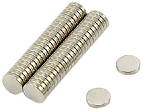 First4magnets F351-N35-50 5 mm diameter x 1 mm dikke N35 neodymium magneten - 0,2 kg trekken (verpakking met 50), zilver, 25 x 10 x 3 cm, stuks