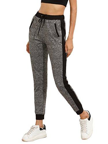 SweatyRocks Women Pants Colorblcok Casual Tie Waist Yoga Jogger Pants, Black Grey #2, Medium